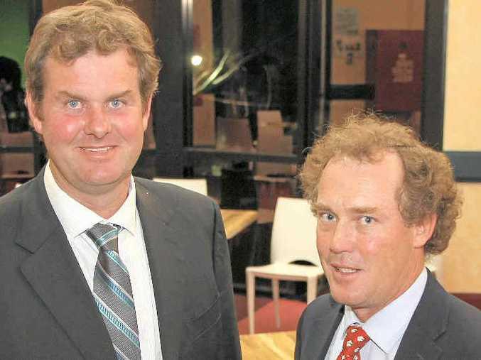 COTTON PLANTING: Chairman of Cotton Australia Simon Corish (left), with deputy Hamish McIntyre, is preparing for the new cotton season.