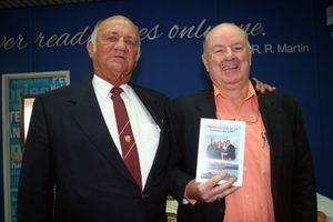 Rural firefighter Maurice Hetherington with former Banana Shire mayor John Hooper