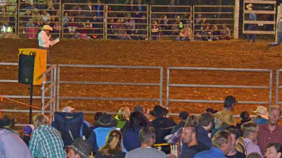 COWBOYS: The crowd gathers to watch the action in the arena.