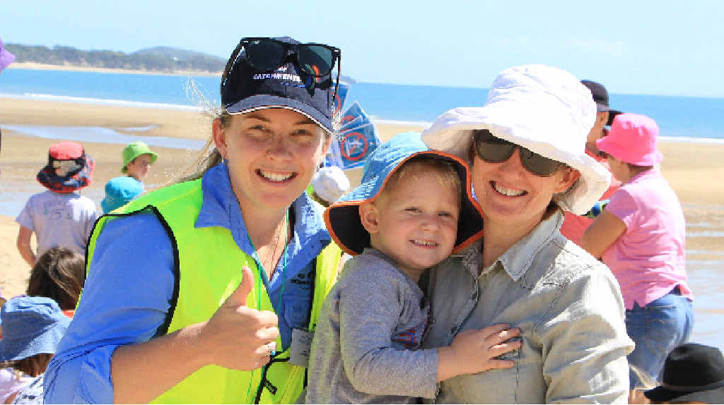 Reef Catchments coastal officer Jess Berryman with Nate and Kye Godfrey at the activities.