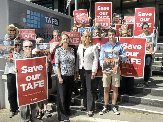 Shadow minister for vocational education Sharon Bird and Richmond MP Justine Elliot don't want to see funding cut from Murwillumbah TAFE.Photo: Liana Turner / Tweed Daily News