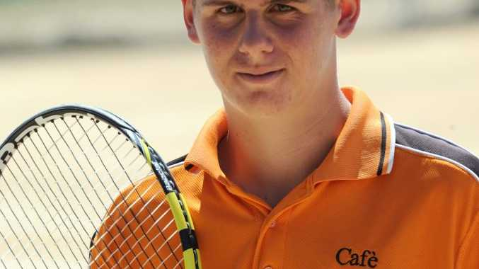 JUNIOR TENNIS: Bundaberg's Brendon Schultz wins the singles final in his age group at the Bundaberg Age Tennis Tournament held at Drinan Park on Friday, 25 September 2015. Photo: Max Fleet / NewsMail
