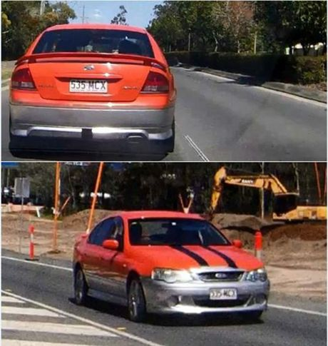 STOLEN CAR: Police are looking for 2003 red and silver Ford Falcon. Photo/Supplied