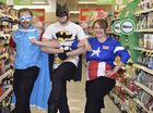 SUPER HEROES: Coles staff, from left; Jesse Willcocks, Rebecca Velt and Andrew Eastall Photo Bev Lacey / The Chronicle