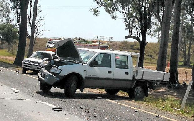 SUCH A TRAGEDY: The Ute involved in the fatal crash on the Bruce Hwy at Glenorchy, about 10km south of Maryborough.