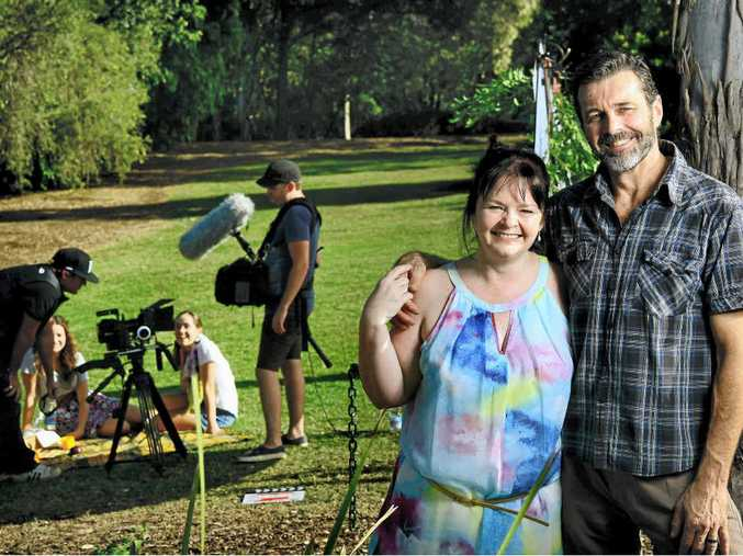 STAR SHOWING: Winners are grinners on the film set of the Long Shadows trailer shoot with writer and lead actress Linda Millar and co-star Joss McWilliam.