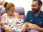 SPECIAL DELIVERY: Fourth time mum Tammica Whaling was grateful for the help from Adam Gett (right), Brittany Aitchison (left) and Cleveland Marcum, with the arrival two healthy now 12-day-old twins, Jobe (left) and Jackson. Mum and twins are still in the Mackay Base Hospital.