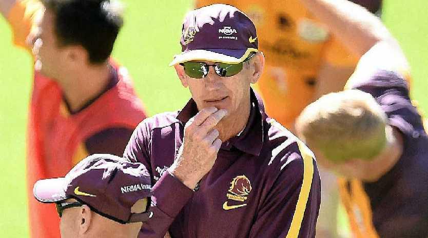 CONFIDENT: Brisbane Broncos coach Wayne Bennett looks on during training at Suncorp Stadium yesterday.