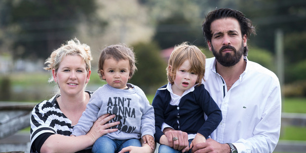Mohamad Ouzoun, who came to New Zealand eight years ago from Syria, with his partner Michelle and their sons Noah and Zain. Photo / Jason Oxenham