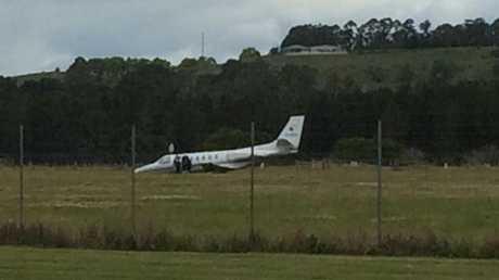 A passenger plane has overshot the runway at Lismore Airport. Photo: Cathy Adams / Northern Star