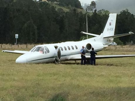 A passenger plane has been involved in an emergency landing at Lismore, overshooting the runway. Photo: Cathy Adams / Northern Star.
