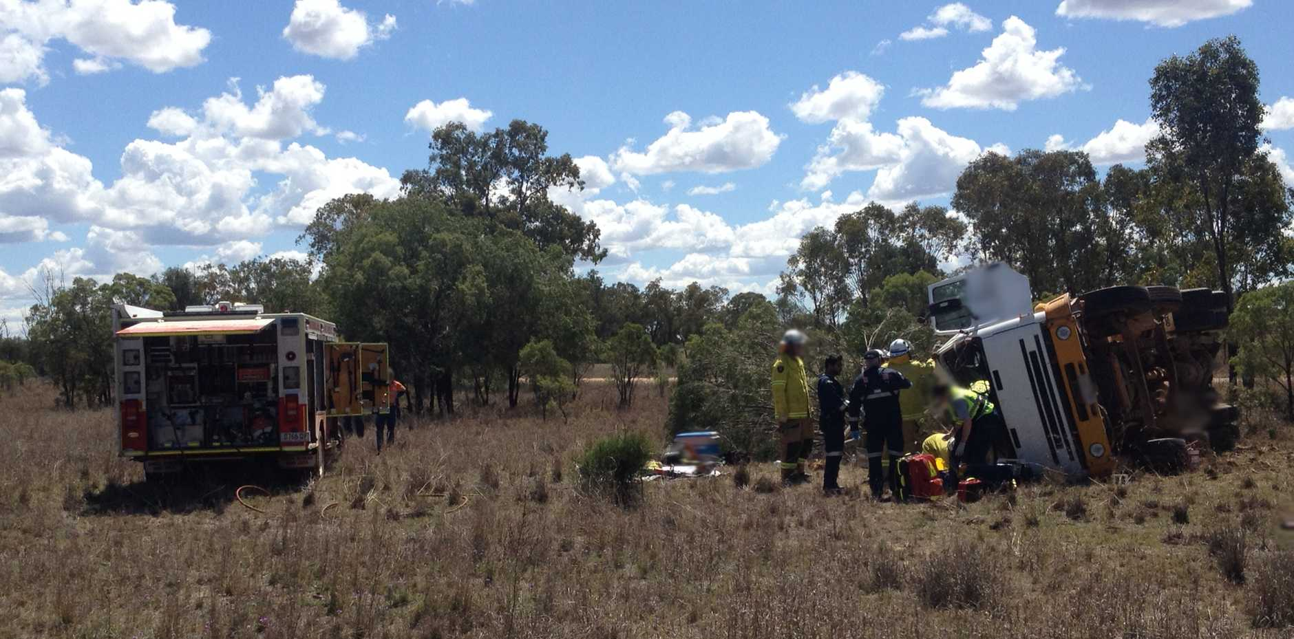 The CareFlight Doctor on board the SGAS helicopter treated the man on-site for suspected head and leg injuries.