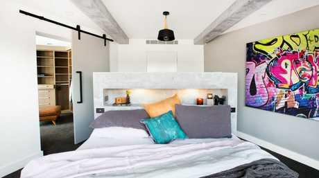 Kingi and Caro's master bedroom in a scene from The Block.