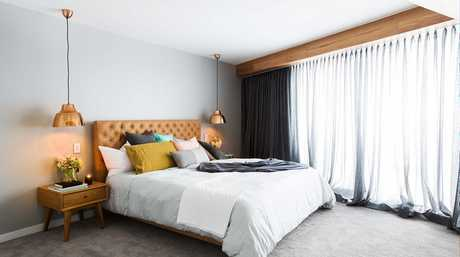 Dean and Shay's master bedroom in a scene from The Block.