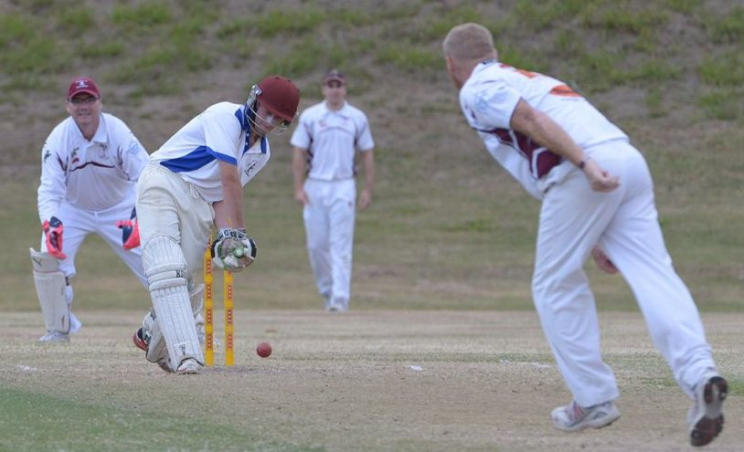 LOW BALL: Joel Saunders finishes the first innings batting for Brothers at Kendals Flats. Photo: Paul Donaldson / NewsMail