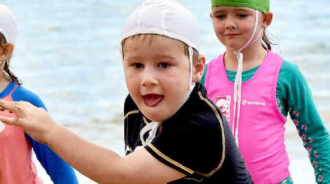 Fletcher Oliver, 5, enjoyed the come and try days at Hervey Bay Surf Life Saving Club.