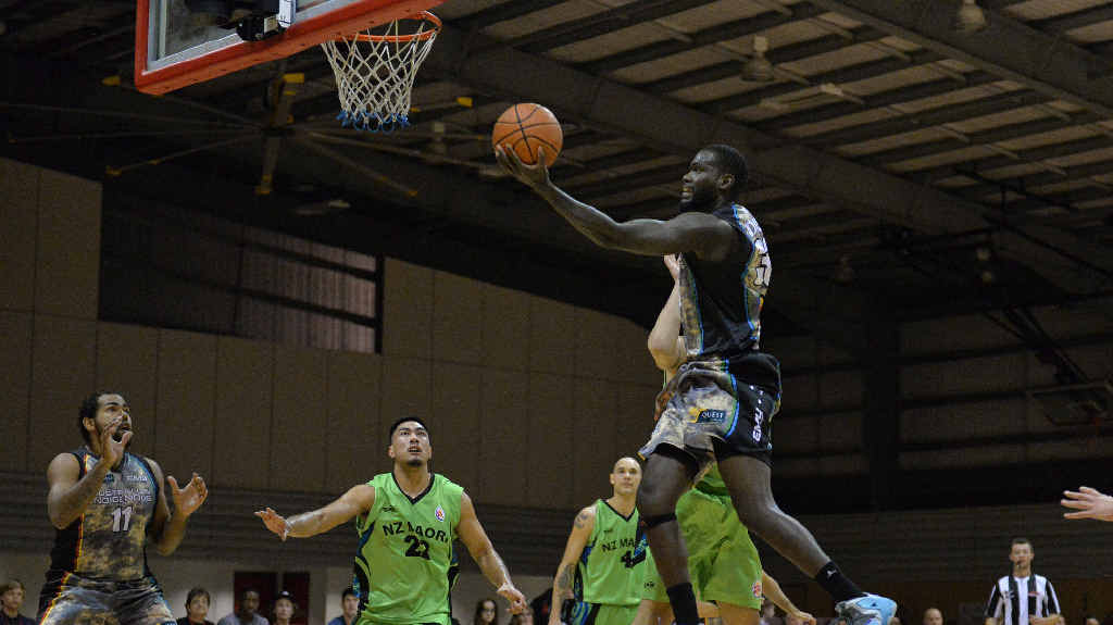 IMPRESSIVE: Australian Indigenous All Stars player Tidjane Diop goes upstairs with a lay-up. The Meteors big man was good during the three-game series.