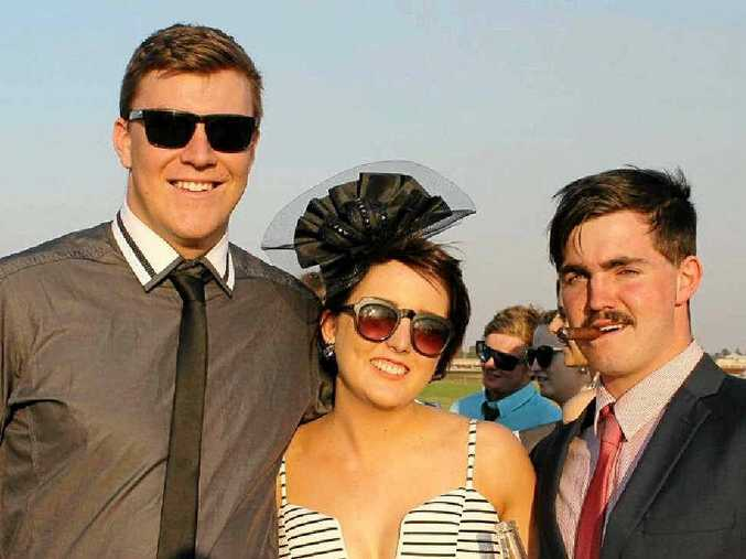 DAY OUT: At the Dalby Rugby Races last year are (from left) Sam Fermor, Monique Stuhmcke and Daniel Merker.