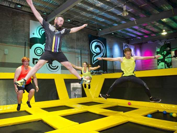 Dylan Ashton, Ricky Moss, Tori Campbell and Kane Bruggemann getting into fitness classes at the Kloud9ine trampoline park.
