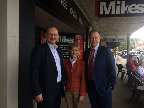 Labor in Casino: Shadow minister Shayne Neumann (Federal MP for Blair), Page candidate Janelle Saffin, and Federal Opposition Leader Bill Shorten outside Mike's Cafe on Barker St Casino. Mr Mr Shorten and other Labor MPs were in town for Country Labor's inaugural forum on Saturday, September 26. Photo: Hamish Broome / The Northern Star