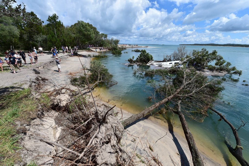 The devastation caused by a 'near-shore landslide' at Inskip Point, also commonly referred to as a 'sinkhole'.