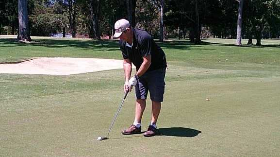 Kevin Lowe from Yamba made this putt on the seventh hole at Ballina golf course.