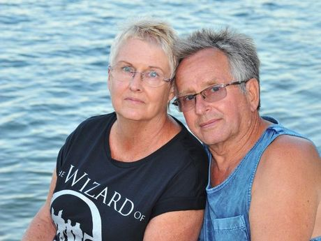 Jenny and Dieter Gass from Latrobe Valley, Victoria had been holidaying for 3 weeks in their caravan before the sinkhole ruined everything. Photo Greg Miller / Sunshine Coast Daily