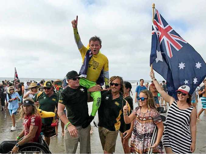 PROUD MOMENT: Mark 'Mono' Stewart made history by winning the first ISA World Adaptive Surfing Championship in California.