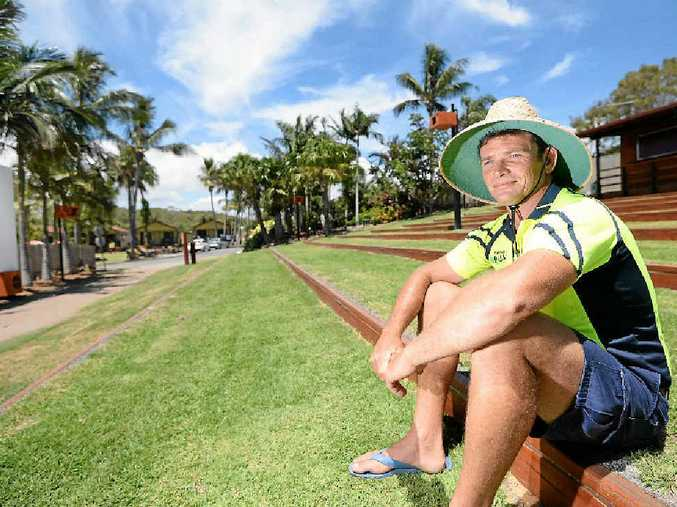 YOUNG ACHIEVER: Big4 Capricorn Palms Holiday Village owner and manager Josh Dillon sitting in the resort's outdoor cinema.