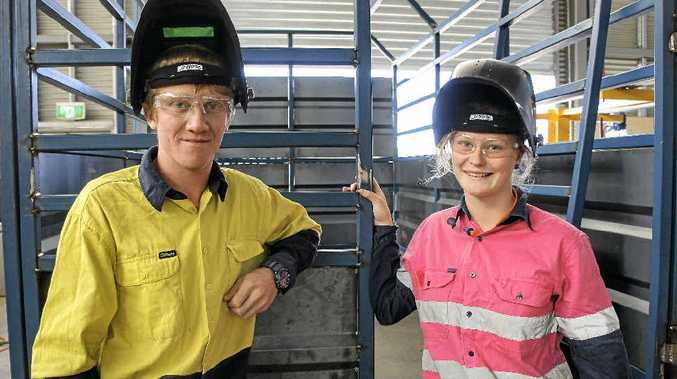 INDUSTRY SUCCESS: Oakey State High School Year 12 students Darren Newton and Demi Federoff are setting the pace in engineering training.