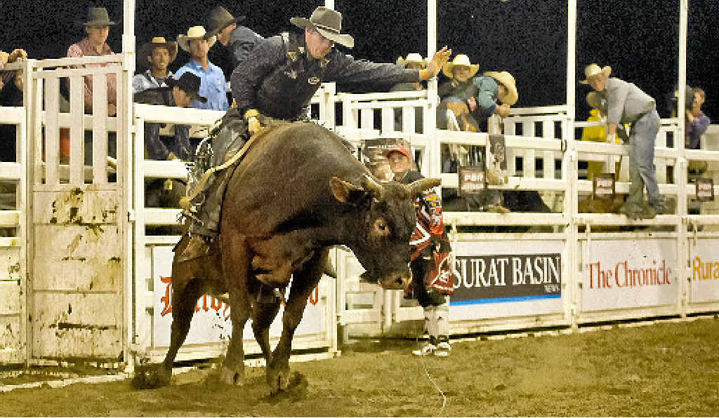 Roy Dunn, pictured on Banger at Dalby in March, will go into the Warwick Rodeo Australian Championships as standings leader in the bull ride.