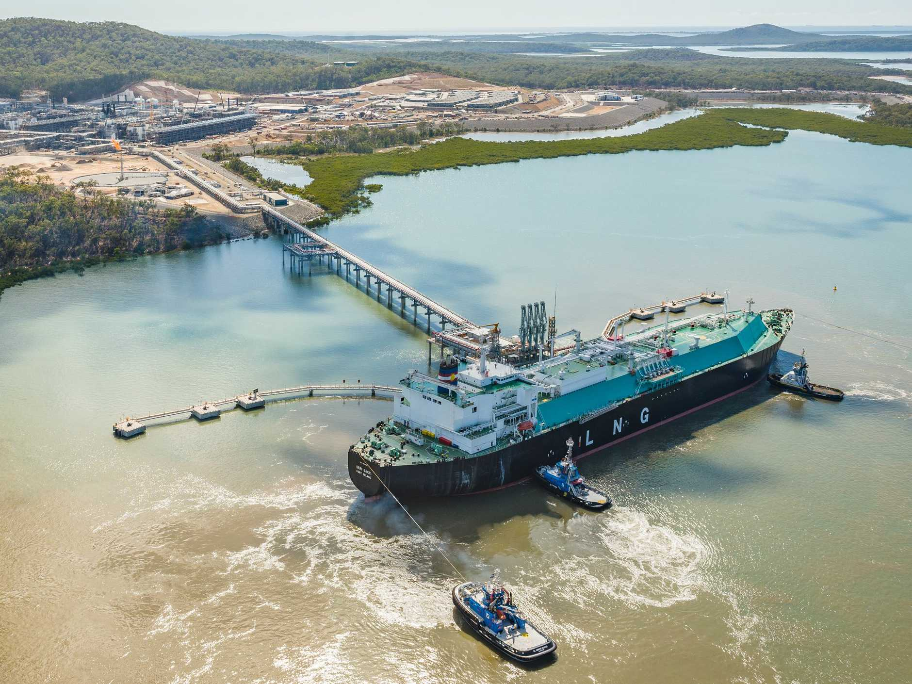 THE LNG ship Seri Bakti arrived at the Santos GLNG site at Curtis Island in September.