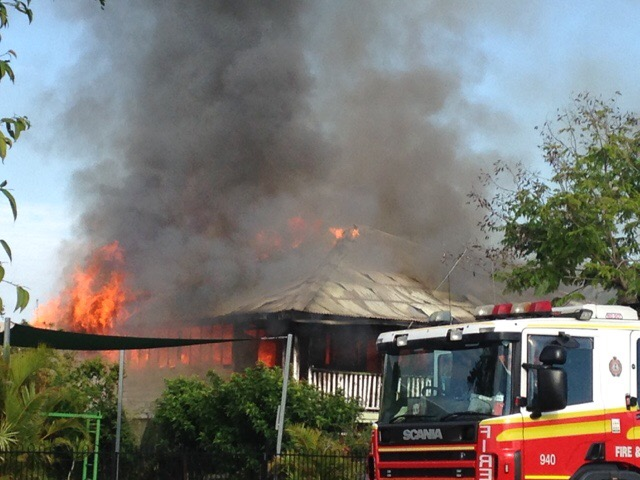 A Queenslander house engulfed by flames in Murray Street, Rockhampton.
