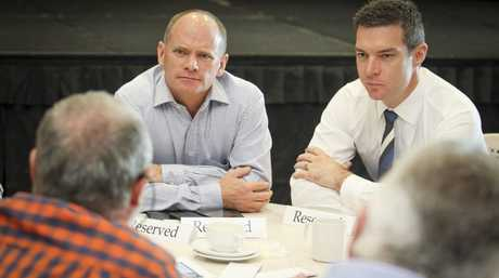 Biographer Gavin King and former Queensland Premier Campbell Newman
