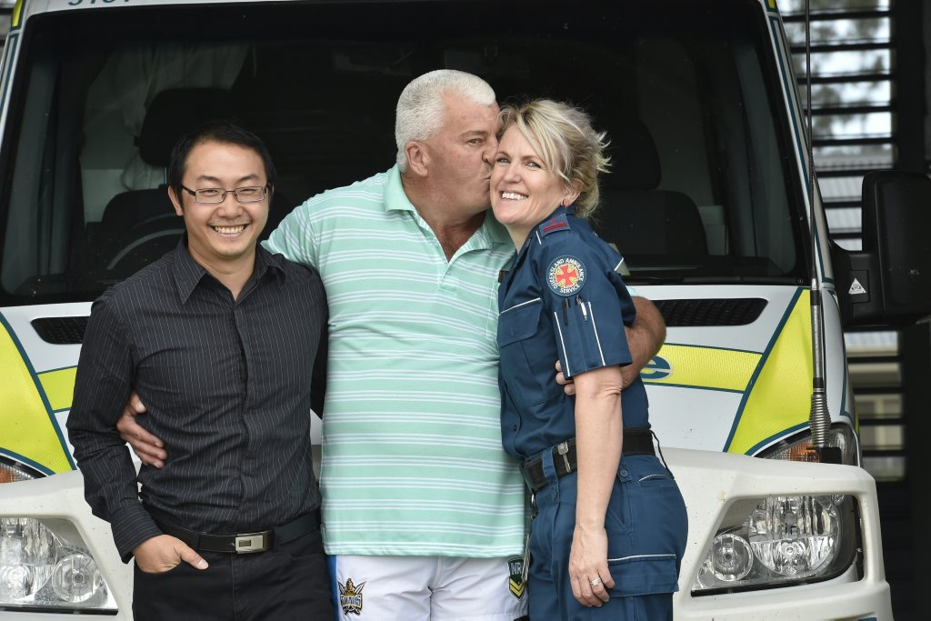 Michael Cherry, 55, is only alive thanks to the swift actions of Dr Paul Chang and Queensland Ambulance advanced care paramedic Jo Crooks. Michael was back at the Oakey Ambulance station to say thank you to the poeple who saved him.