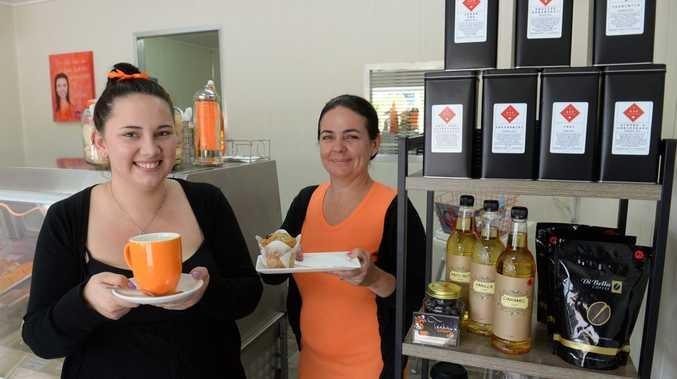 COFFEE SHOPS: Teekay's Coffee staff members Tamara McMahon and Hollee Allan inside their quaint coffee shop. Photo: Mike Knott / NewsMail