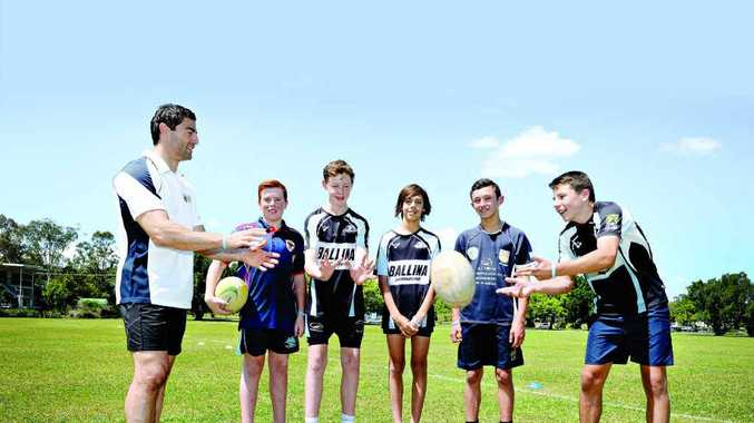 HOLISTIC AND HEALTHY: Anthony Minichiello, Jayden Ellis of Kyogle, Brayden Neilson, Lachlan Anderson, Tom Farragher and Kodi Crowther, all of Ballina, at the mental wellbeing and sporting clinic in Lismore yesterday.