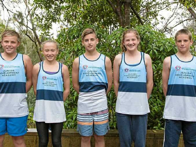 NEW SKILLS: Joseph Warne, Hayley Smith, Finn Whitney, Paige Leishman and Nathan Mackenzie at the Surf Life Saving NSW development camp.