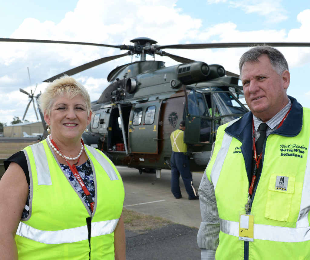 EXERCISE WALLABY: Capricornia MP Michelle Landry and Cr Neil Fisher at Rockhampton Airport where the Singapore Defence Force is preparing for Exercise Wallaby.