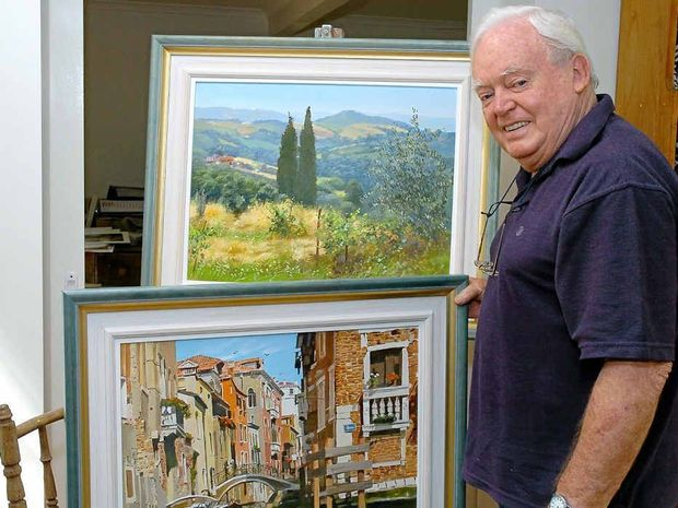 FLASHBACK TO 2004: Then Noosa artist Hal Barton with paintings from his Italy exhibition at the Beachside Gallery.