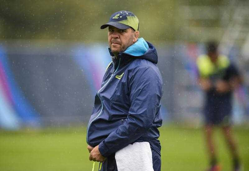 Australia's head coach Michael Cheika attends a training session at the University of Bath on September 16, 2015, in Bath prior to the start of the Rugby World Cup 2015.