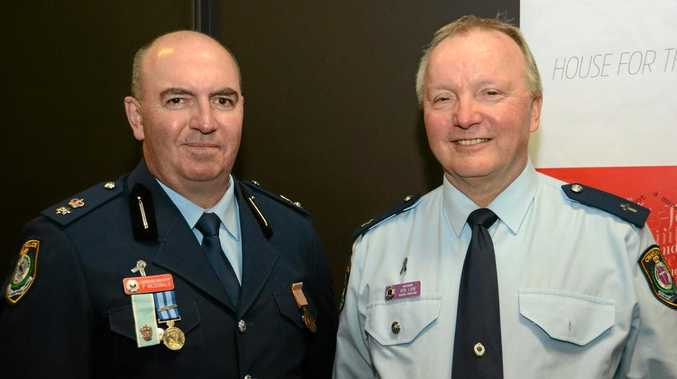 Tweed Byron Superintendent Paul McDonald with Tweed Byron local area command Chaplain Ron Law at National Police Remembrance Day.