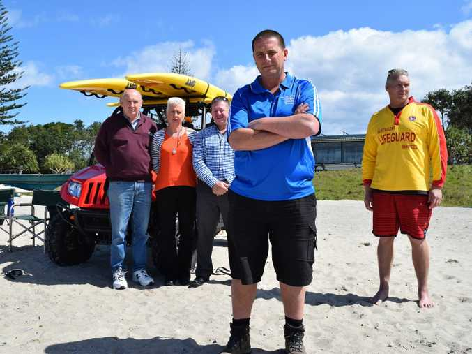 UNITED: From left: Trevor Mallet and Helen Aarts from the Evans Head Business and Chamber of Commerce, Roger Hong, manager Evans Head Bowling Club and Holiday Cabins and David Sly of Casino-Evans Head Surf Life Saving Club with Life Guard John Plenkovich are calling for Surf Life Saving volunteers to ensure Saturdays at Evans Head is safe.