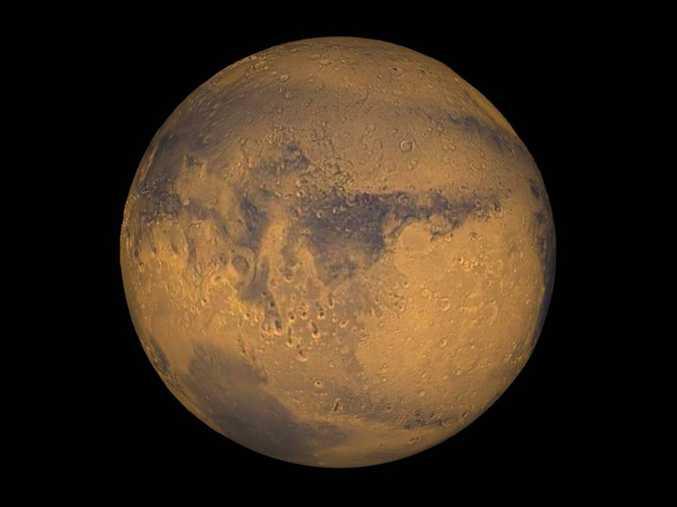 Mars true-color globe showing Terra Meridiani