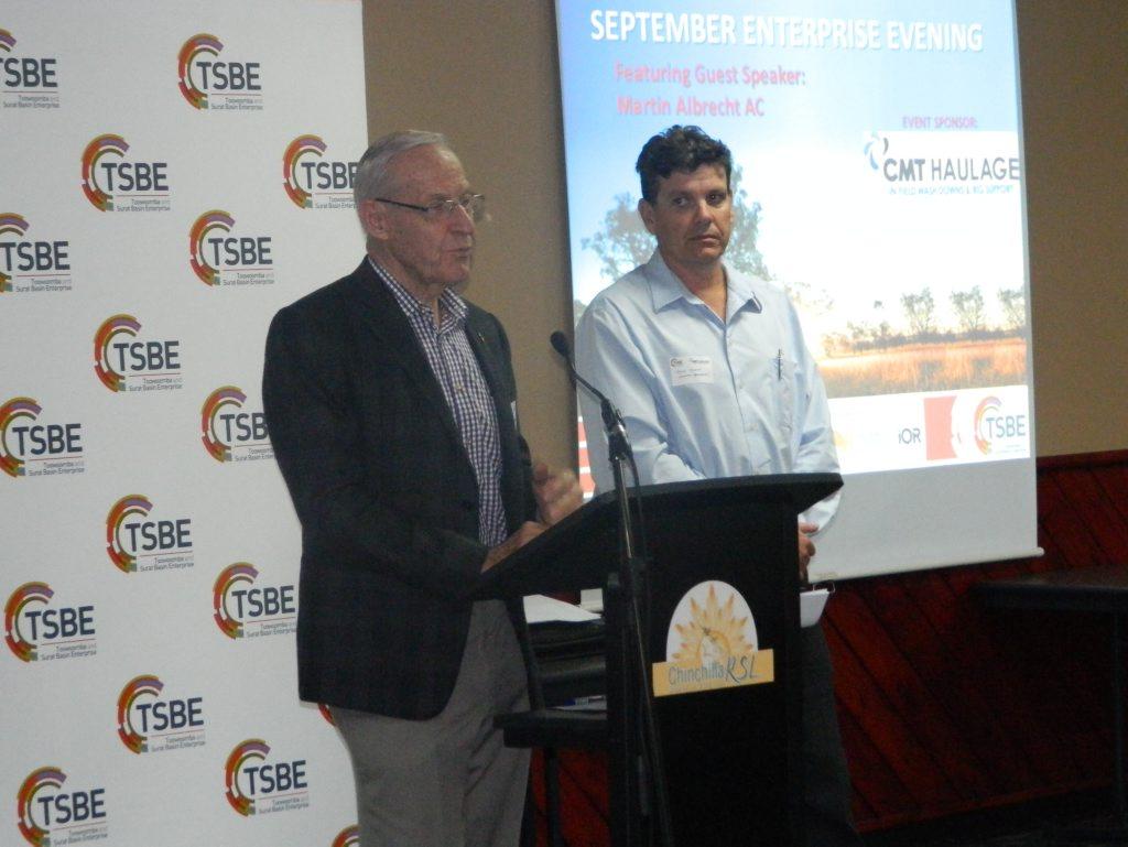 National Trunk Rail's Martin Albrecht and Sekitan Resources' Trevor Bourne speak to the Chinchilla September TSBE forum.