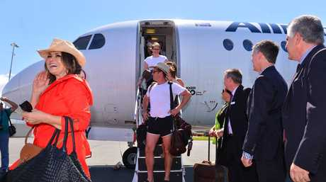 Karl Stefanovic arrives at Sunshine Coast airport all kitted up.