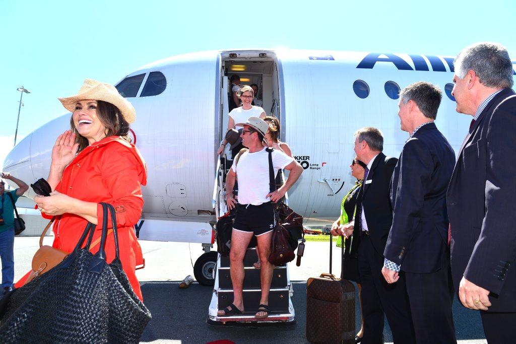 Nine's breakfast show hosts Karl Stefanovic and Lisa Wilkinson arrive at Sunshine Coast Airport. Photo: John McCutcheon / Sunshine Coast Daily