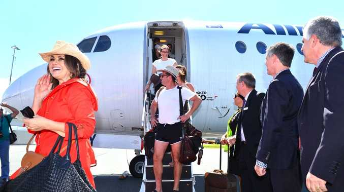Nine's breakfast show hosts Karl Stefanovic and Lisa Wilkinson arrive at Sunshine Coast Airport. Photo: John McCutcheon / Sunshine Coast Daily