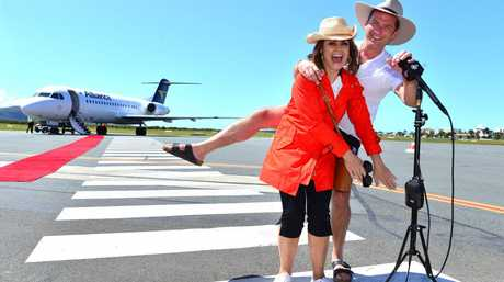 SUPERSTAR WELCOME: Nine's breakfast show hosts Karl Stefanovic and Lisa Wilkinson arrive at Sunshine Coast Airport.