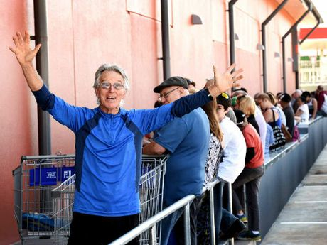 BARGAIN HUNTER: Bob Wells, from Goonellabah, was up early to get in line at the Aldi Goonellabah opening.